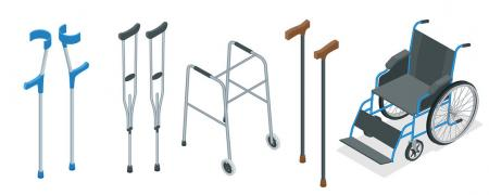 Rental of crutches under the armpit height 140 - 200 cm
